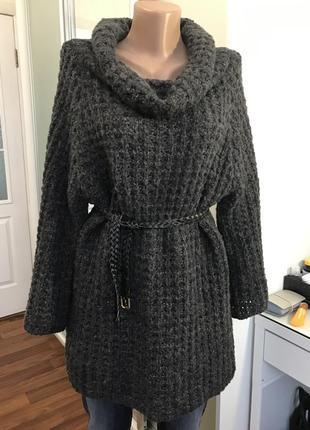 Треплющий свитер удлиненный серого цвета крупная вязка