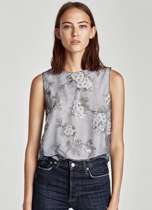 Блуза из органзы zara с подкладкой