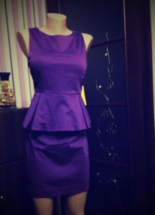 Платье вечернее нарядное мини 48 размер топ лук новое фиолетовое