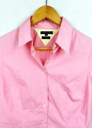 Рубашка розовая tommy hilfiger с коротким рукавом