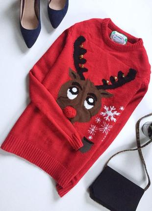 Новогодняя кофта свитер с рисунком и калакольчиками унисекс