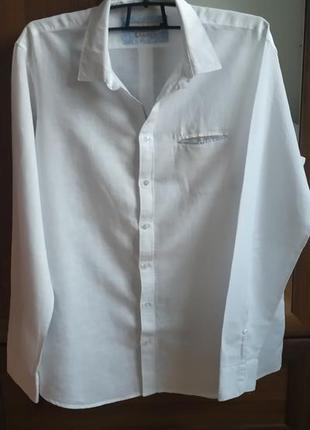 Рубашка белая льняная celio (италия)