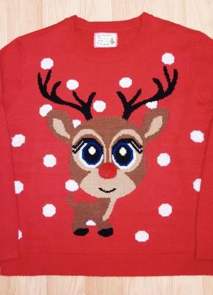 Новогодний няшный свитер с оленем .батал .
