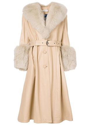 Кожаное пальто saks potts c манжетами из меха лисы