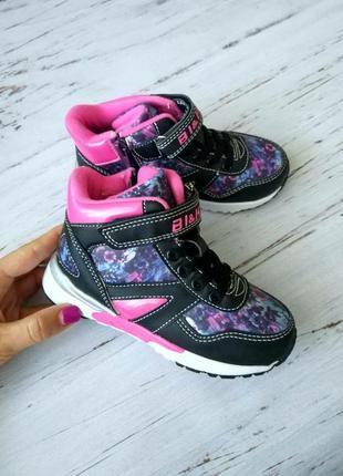 Детские демисезонные кроссовки том.м для девочки на флисе, розовые
