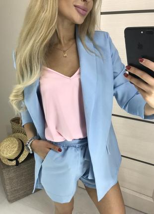 Костюм шорты пиджак блуза жакет нарядный праздничный s m l 44 46 48