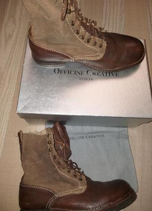 Высокие коричневые ботинки на шнурках officine creative