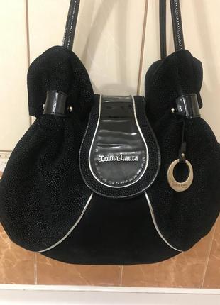 Кожаная сумка сумка кожаная замшевая с лазерным напылением