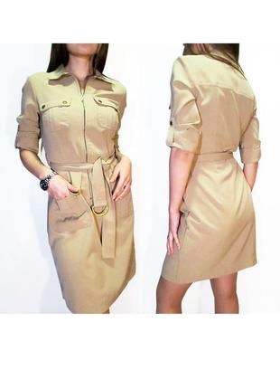 Sharagano! стильное платье сафари