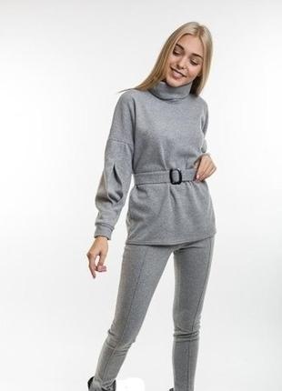 Стильный теплый комплект монолук костюм удлиненная кофта брюки цвета р.s m l