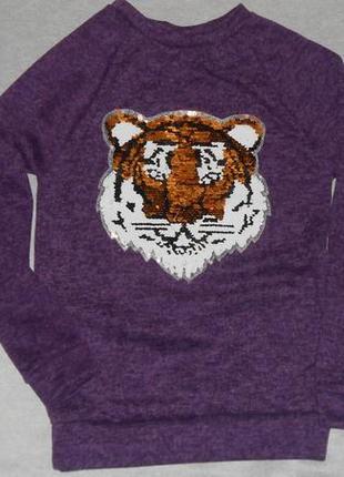 Свитшот  реглан с реверсным рисунком ( пайетки )  тигр