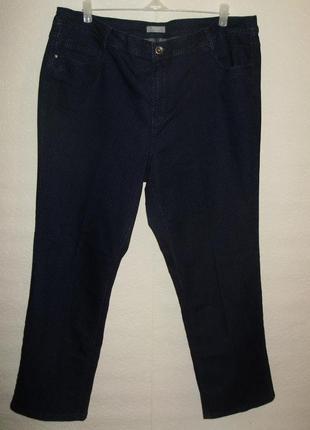 Стрейчевые стильные темно-синие джинсы в горох/батал/24/58-60 размера