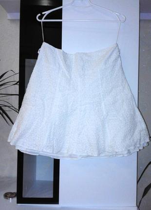Белая романтичная юбка с вышивкой