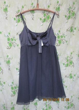 Нежное шифоновое платье с бантом на груди/свободное/можно беременным