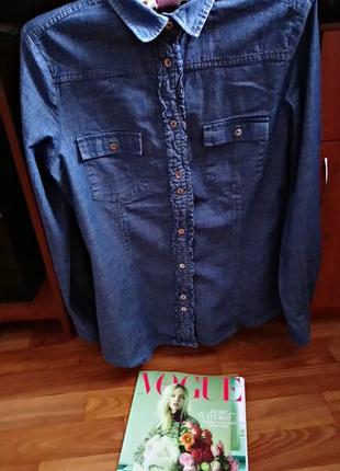 Джинсовая рубашка, рубашка деним, дорогой итальянский бренд  sandro ferrone rome
