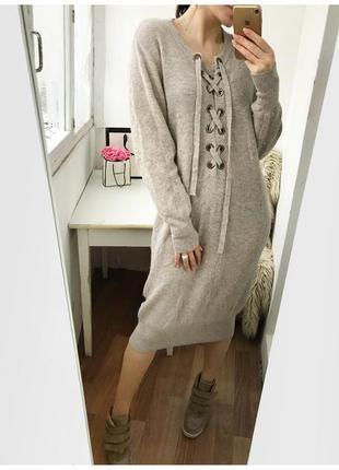 Шикарное вязаное бежевое платье 70% шерсти, на шнуровке ya-ya