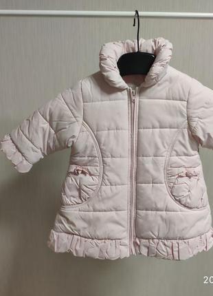 Курточка куртка пальто со стразами 74 англия 12 мес нежно розовая пальтишко стразы