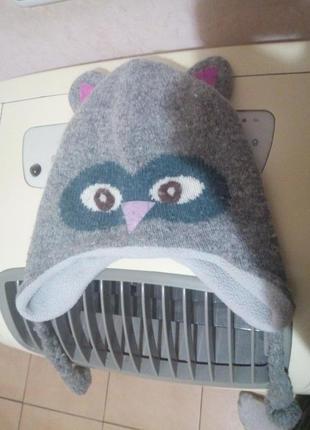 Зимняя шапка совушка