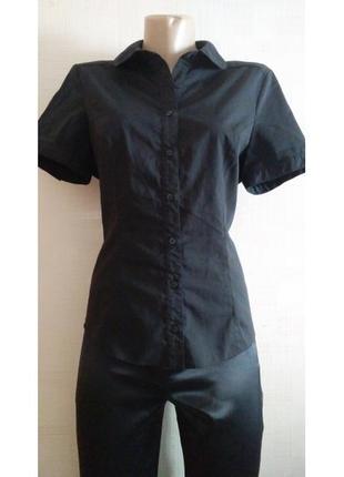 """Классическая черная рубашка с коротким рукавом """"george"""""""