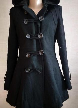 """Шерстяное пальто с капюшоном и низом - """"колоколом""""  """"warehouse"""""""