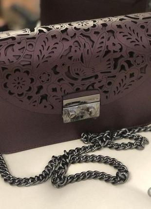 Сумка кожаная италия натуральная кожа перфорация фиолет баклажан винний фиолетовая клатч