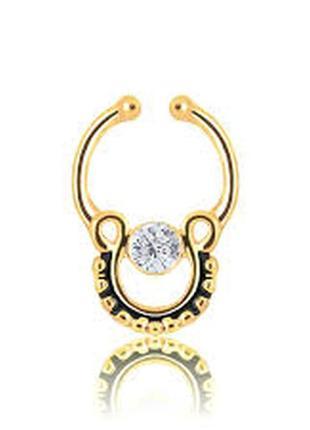 Септум - обманка, клипса в нос septum gold