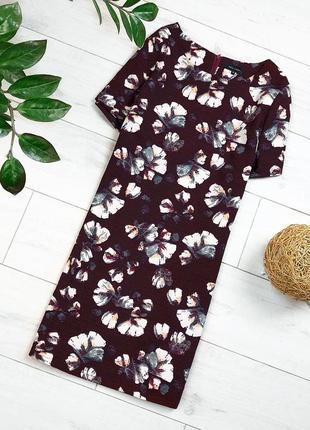 Бордовое платье в цветы