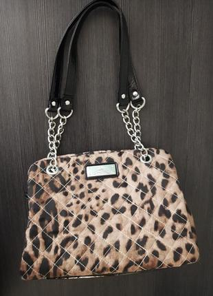 Леопардовая сумка next, сумка с короткими ручками цепочками, сумка их ткани