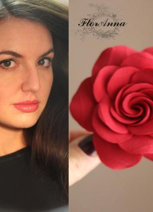 """Заколка-брошь """"красная роза"""". лучший подарок девушке2"""