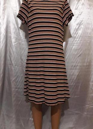 Полосатое рубчиковое платье