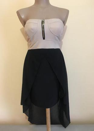 Чорне плаття италия сукня беж трикотаж шифон без рукавів