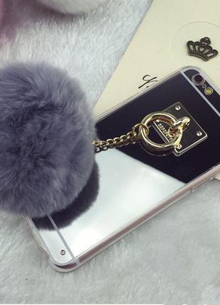 Новый зеркальный чехол с мехом! на айфон 7/7s  -5% за подписку♥️💕