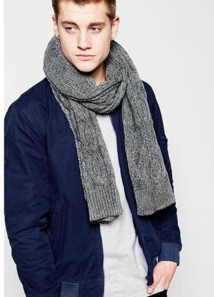 Стильный мужской серый шарф крупной вязки catbalou