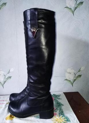 Ботфорты длинные сапоги зимние кожаные кожа натуральная