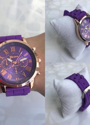 Силиконовые женские наручные фиолетовые часы geneva женева летние