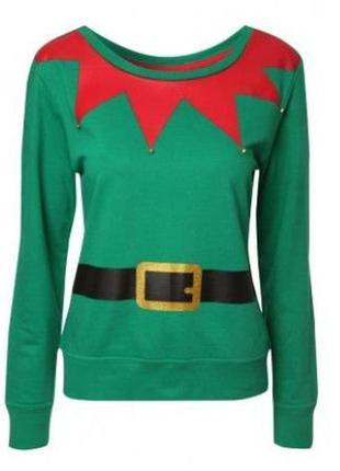 Новогодний свитшот свитер 🎅 ельф с бубенчиками унисекс р. м - l-xl + подарок 🎁 шапочка