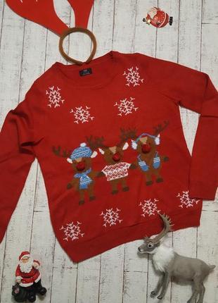 Новогодний свитер со снежинками и оленями с объемным носом помпоном унисекс р. s  - l