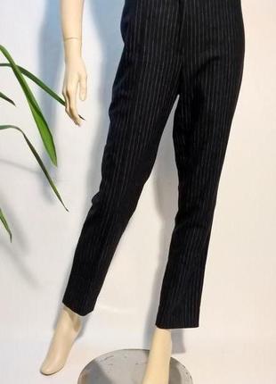 Шерстяные синие брюки в полоску h&m базовые
