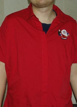 Рубашка новогодняя красная 48-50 праздничная скидка!