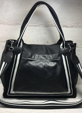 Женская большая кожаная + плащевка  сумка чернвя