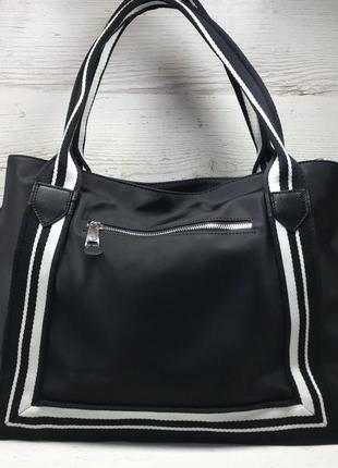 Женская большая кожаная + плащевка  сумка чернвя2