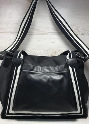 Женская большая кожаная + плащевка  сумка чернвя3