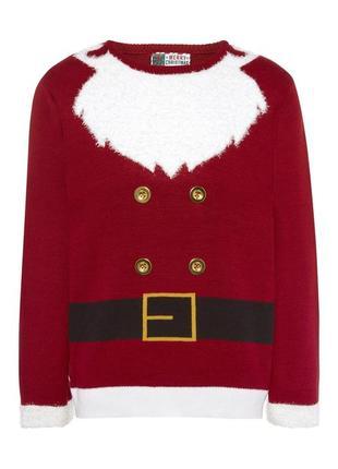 Музыкальный новогодний свитер костюм санта клауса деда мороза с пушистой бородой  р. s