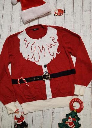 Новогодний свитер костюм санта клауса деда мороза с пушистой бородой и карманами р. l