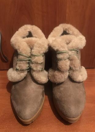 Женские зимние ботинки на танкетке, ботинки на меху, ботильоны