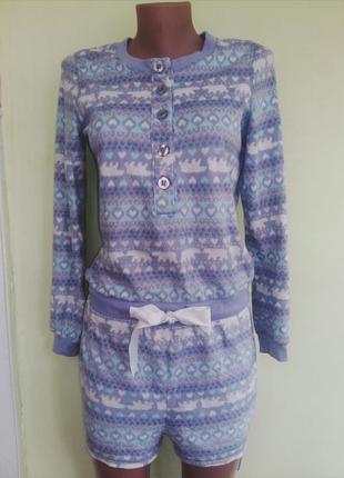 Тепленький комбинезон флисовый костюм шортики кофта f&f