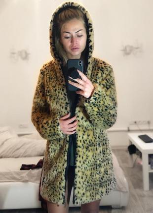 Искусственная леопардовая шуба тедди