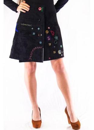 Юбка дизайнерская женская плотная черная desigual (38) (s-m)