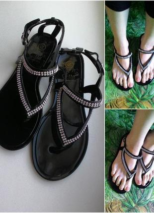 Босоножки со стразами силиконовые резиновые сандалии черные 24,5 и 25,5см