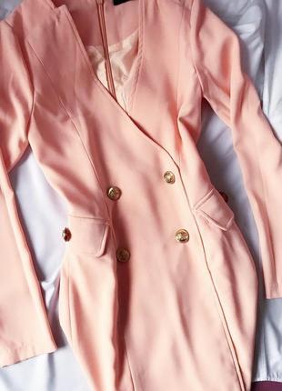Премиальное персиковое платье пиджак жакет блейзер нюдовое missguided 4 xxs